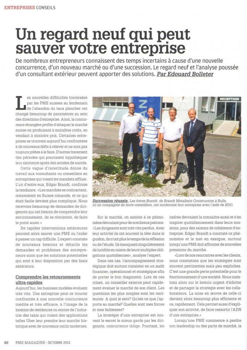 Article sur Edgar Brandt Advisory – PME Magazine