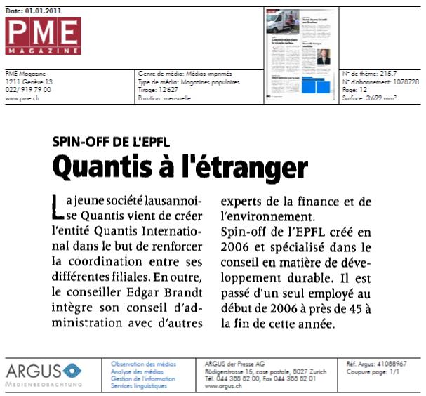 """""""Quantis à l'étranger"""" – PME Magazine"""