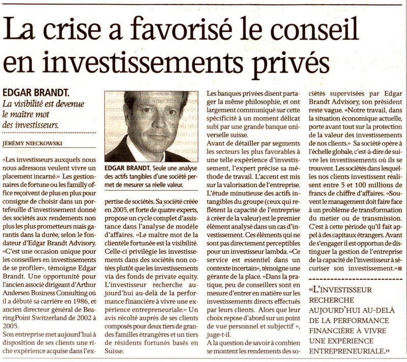 """""""La crise a favorisé le conseil en investissements privés"""" – L'Agefi"""