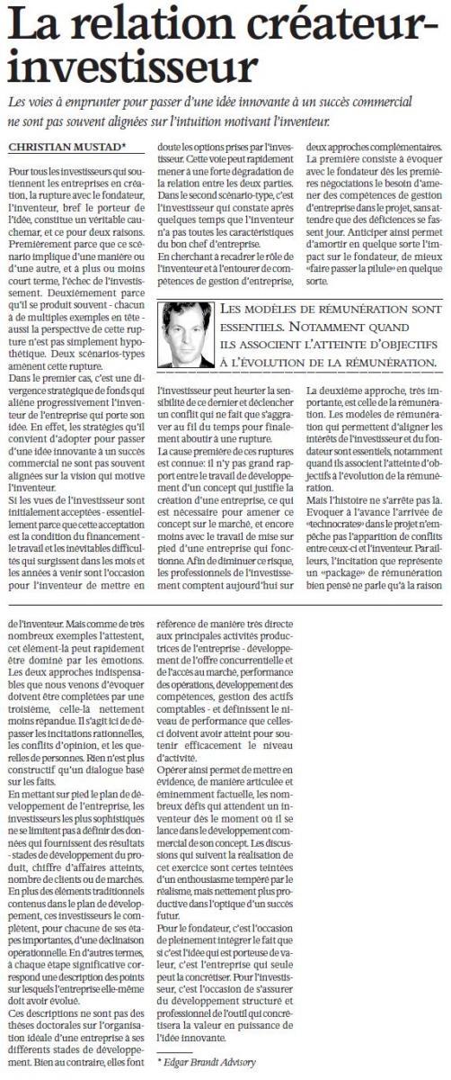 """""""La relation créateur-investisseur"""" – L'Agefi"""