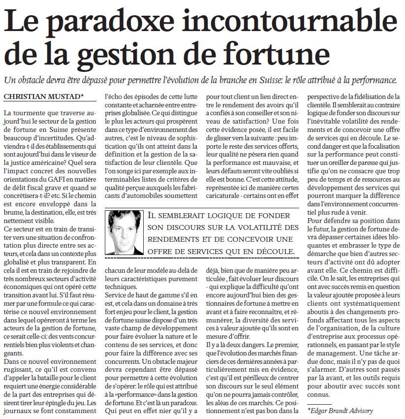 """""""Le paradoxe incontournable de la gestion de fortune"""" – L'Agefi"""
