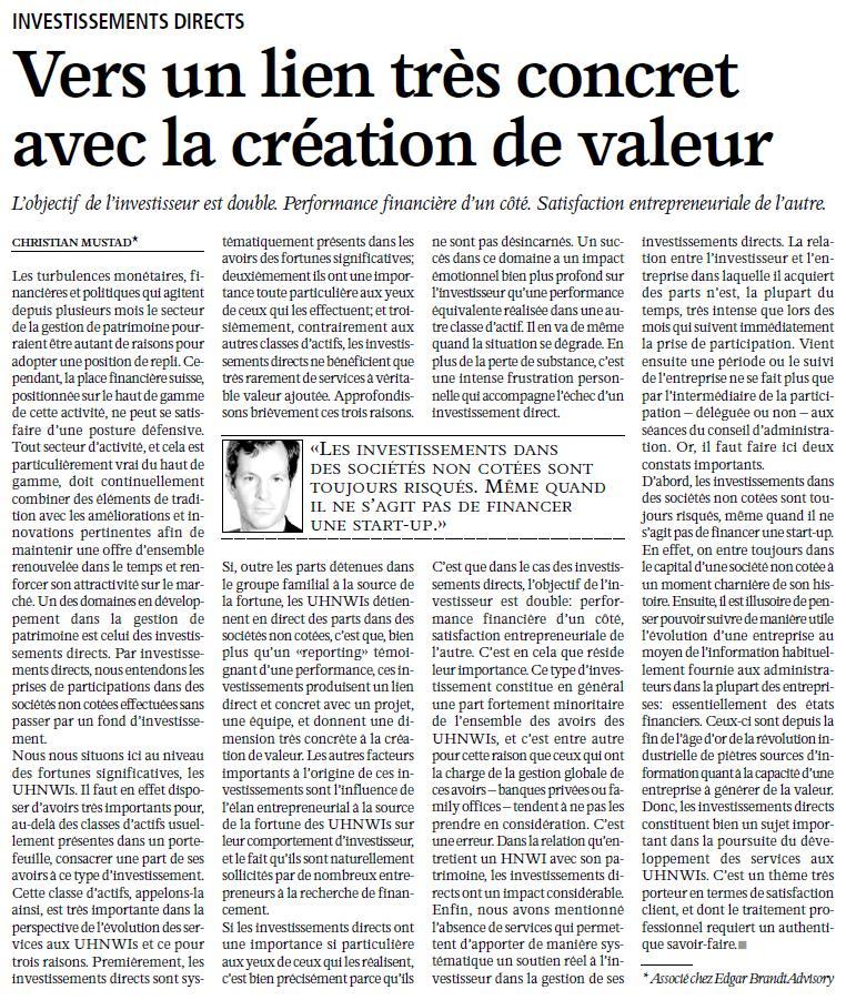 """""""Vers un lien très concret avec la création de valeur"""" – L'Agefi"""