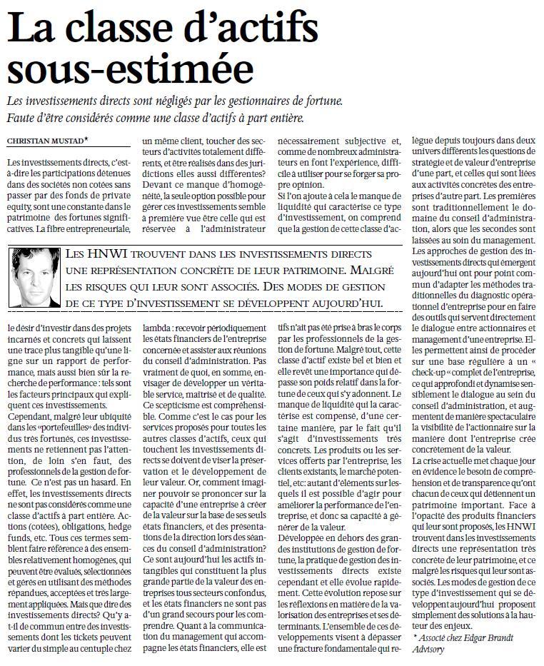 """""""La classe d'actifs sous-estimée"""" – L'Agefi"""