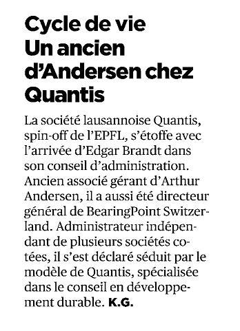 """Cycle de vie – Un ancien d'Andersen chez Quantis"" – 24 Heures"