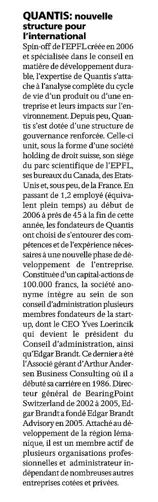 """""""Quantis: Une nouvelle structure pour l'international"""" – L'Agefi"""