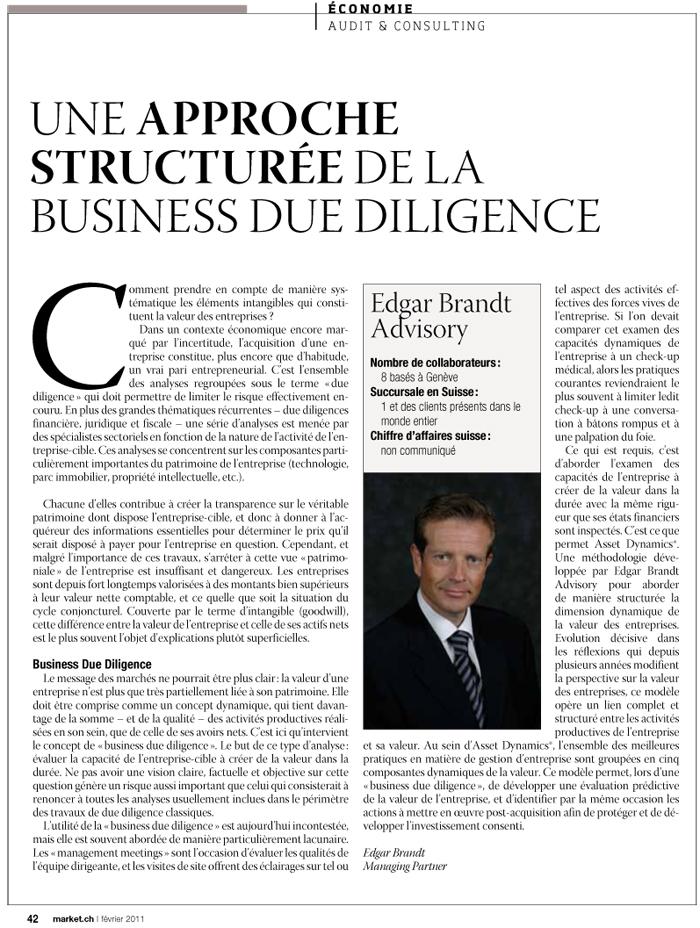 """""""Une approche structurée de la business due diligence"""" – Market.ch"""