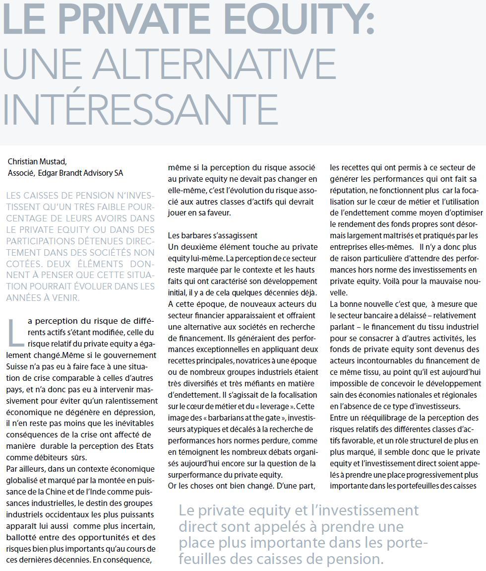 """""""Le Private Equity : une alternative intéressante"""" – Market.ch"""