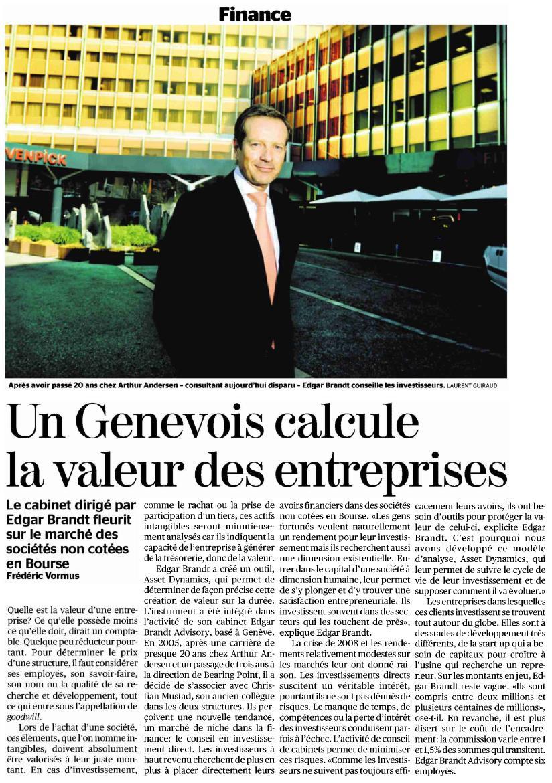 """""""Un genevois calcule la valeur des entreprises"""" – Tribune de Genève"""